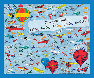 WAlli-Kids activity poster Planes - Can you find the 54 hidden planes in the picture?